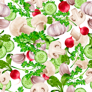 Vegetable organic food realistic mix seamless pattern vector illustrationのイラスト素材 [FYI03069835]