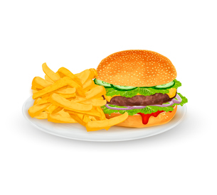 Hamburger sandwich with French fries on plate fast food isolated on white background vector illustraのイラスト素材 [FYI03069836]