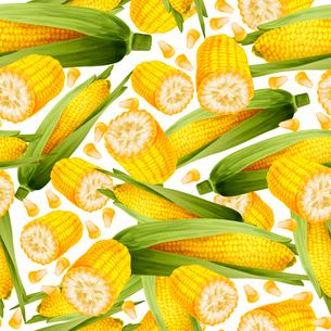 Vegetable organic food realistic yellow corn stalk seamless pattern vector illustration.のイラスト素材 [FYI03069837]