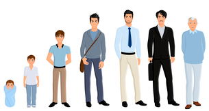 Different generation aging men set isolated on white background vector illustrationのイラスト素材 [FYI03069839]