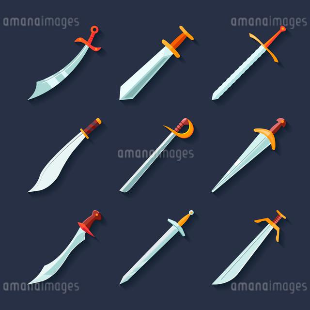 Swords knives daggers sharp blades flat icon set isolated vector illustrationのイラスト素材 [FYI03069840]