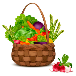 Fresh vegetable organic food set still life in basket isolated on white background vector illustratiのイラスト素材 [FYI03069847]