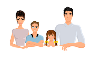 Happy family man woman parents and girl and boy kids portrait horizontal banner bookmark vector illuのイラスト素材 [FYI03069849]