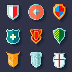 Antique army shields crest medieval heraldry flat icons set  isolated vector illustrationのイラスト素材 [FYI03069850]