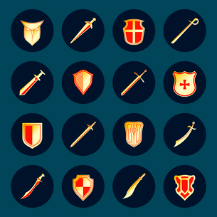 Swords antique military knight weapon and steel warrior shields round isolated vector illustrationのイラスト素材 [FYI03069855]