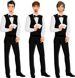 Handsome sexy young men casino dealers with cards portrait set isolated vector illustration.のイラスト素材 [FYI03069859]