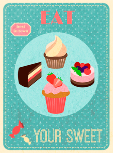 Eat your sweet retro poster with cupcake layered cake dessert vector illustration.のイラスト素材 [FYI03069863]