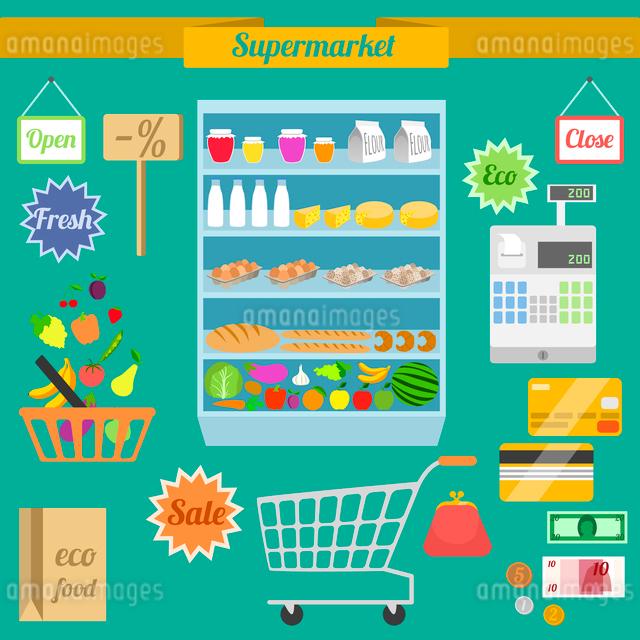 Supermarket flat elements with shelf shopping cart money purse vector illustrationのイラスト素材 [FYI03069864]