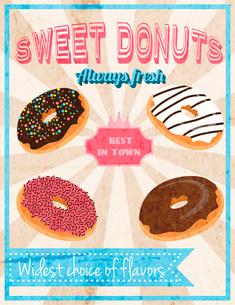 Fresh donut sweet dessert cafe restaurant retro poster vector illustrationのイラスト素材 [FYI03069866]
