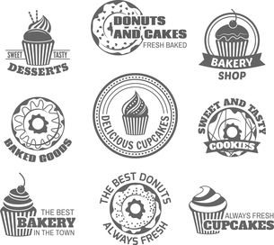Food sweet  tasty desserts donut and cupcake labels set isolated vector illustrationのイラスト素材 [FYI03069870]