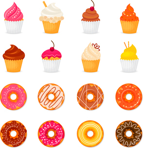 Food sweets bakery and pastry donut and cupcake icons set isolated vector illustrationのイラスト素材 [FYI03069871]