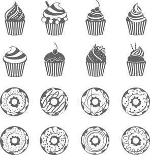 Food sweets  donut with glaze and cupcake with cream black icons set isolated vector illustrationのイラスト素材 [FYI03069873]