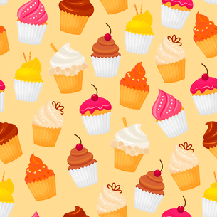 Sweet and tasty food dessert cupcake seamless pattern vector illustrationのイラスト素材 [FYI03069874]