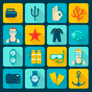 Diving scuba icons set of adventure sport activity isolated vector illustrationのイラスト素材 [FYI03069877]