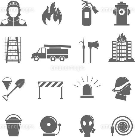 Firefighting black silhouette icons set of fire protection equipment isolated vector illustration.のイラスト素材 [FYI03069878]