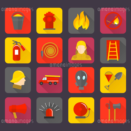 Firefighting icons set of flame water hose mask and helmet isolated vector illustrationのイラスト素材 [FYI03069881]