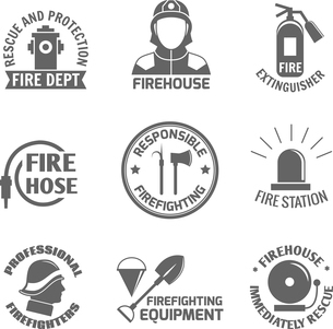 Firefighting rescue and protection fire department firehouse extinguisher label set isolated vectorのイラスト素材 [FYI03069882]