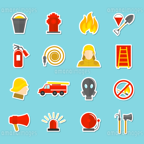Firefighting icons stickers set of axe fire truck water hydrant isolated vector illustrationのイラスト素材 [FYI03069883]
