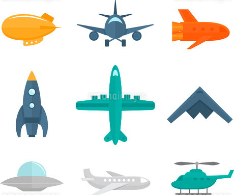 Aircraft icons flat set of zeppelin aircraft war fighter isolated vector illustrationのイラスト素材 [FYI03069884]