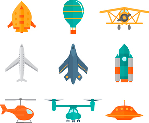 Aircraft icons flat set of space rocket propeller airplane ufo isolated vector illustrationのイラスト素材 [FYI03069888]