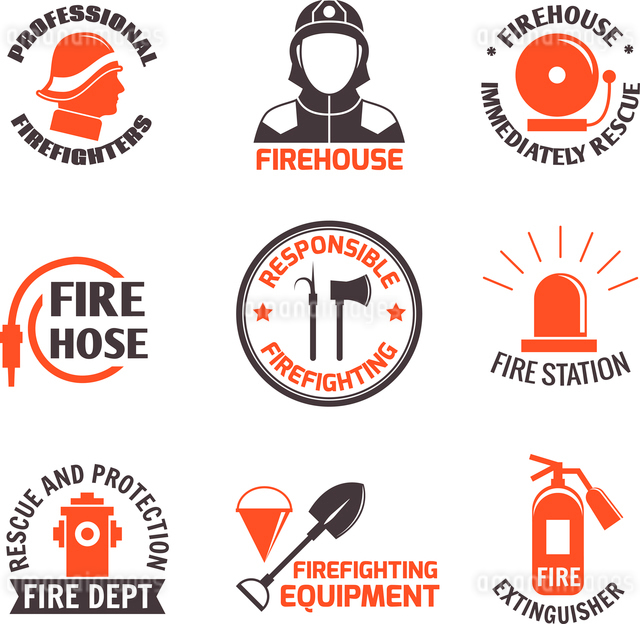 Firefighting professional firehouse immediately rescue label set isolated vector illustration.のイラスト素材 [FYI03069889]