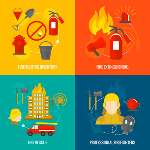 Firefighting icons  inventory extinguishing fire rescue professional composition isolated vector illのイラスト素材 [FYI03069890]