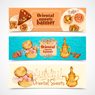 Oriental asian traditional sweet desserts banners set isolated vector illustrationのイラスト素材 [FYI03069892]