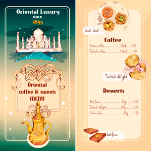 Oriental asian luxury coffee and traditional sweet desserts menu vector illustrationのイラスト素材 [FYI03069897]