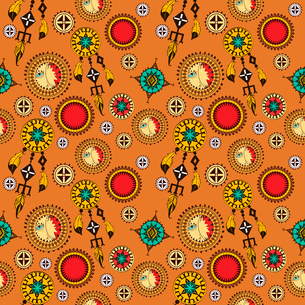 Tribal seamless background with indian feather dreamcatchers and amulets vector illustrationのイラスト素材 [FYI03069899]