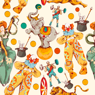 Decorative vintage circus with clown magical wand trick seamless wrap paper pattern color doodle skeのイラスト素材 [FYI03069904]