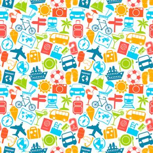 Travel holiday vacation adventure summer sea cruise icons seamless pattern vector illustration.のイラスト素材 [FYI03069916]