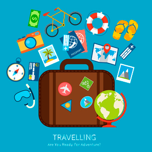 Travel holiday vacation adventure flat concept with suitcase and tourism icons vector illustration.のイラスト素材 [FYI03069917]