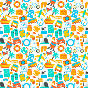 Travel holiday vacation adventure icons seamless pattern vector illustrationのイラスト素材 [FYI03069919]