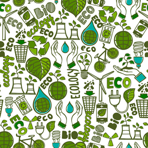 Ecology and waste global conservation colored seamless pattern vector illustrationのイラスト素材 [FYI03069940]