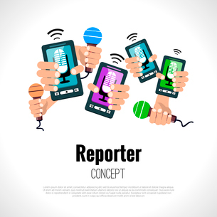 Journalist press conference media broadcasting reporter concept vector illustrationのイラスト素材 [FYI03069949]