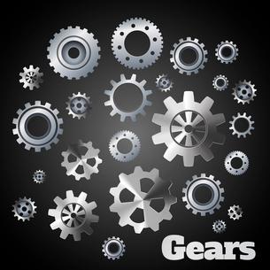 Metal cogwheel gears mechanisms industrial engineers poster vector illustrationのイラスト素材 [FYI03069954]