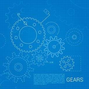 Drawn cogwheel gears mechanisms on squared background poster vector illustrationのイラスト素材 [FYI03069956]