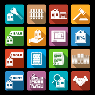 Real estate flat icons set of sale sold rent property apartment isolated vector illustration.のイラスト素材 [FYI03069964]