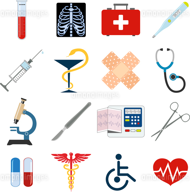 Medical emergency first aid care icons set with heart pill thermometer isolated vector illustrationのイラスト素材 [FYI03069968]