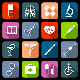 Medical emergency first aid care icons flat set with syringe heart vaccine isolated vector illustratのイラスト素材 [FYI03069969]
