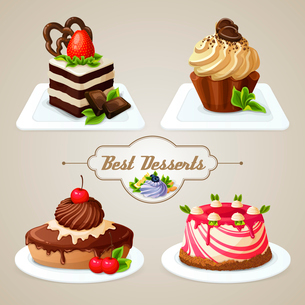 Decorative sweets desserts set with shortcrust sponge cake and pudding isolated vector illustration.のイラスト素材 [FYI03069978]