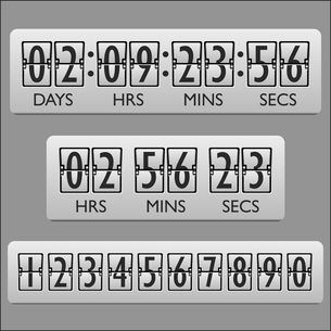 Countdown clock timer mechanical numbers board panel indicator display vector illustrationのイラスト素材 [FYI03069979]