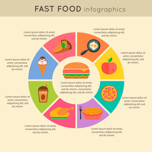Fast food infographic icons set with pie chart vector illustrationのイラスト素材 [FYI03069981]