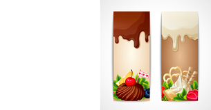 Sweets dessert food milk and white chocolate berries banners vertical vector illustrationのイラスト素材 [FYI03069982]