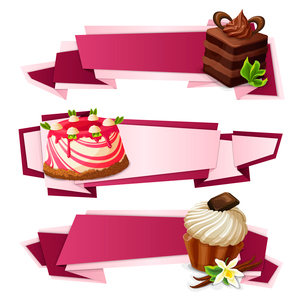 Decorative sweets food paper banners set with layered cake panna cotta vanilla muffin dessert isolatのイラスト素材 [FYI03069985]