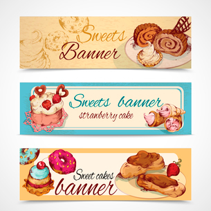 Food sweets bakery and pastry sketch colored banners set isolated vector illustrationのイラスト素材 [FYI03069989]