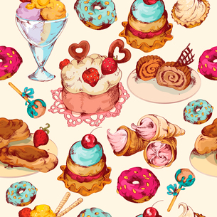Food sweets bakery pastry ice cream and candies sketch colored seamless pattern vector illustrationのイラスト素材 [FYI03069991]