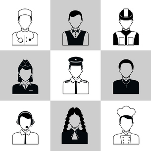 Avatar social network pictograms set of lawyer cook engineer doctor pilot isolated vector illustratiのイラスト素材 [FYI03069993]