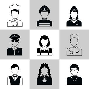 Avatar social network pictograms set of firefighter policeman judge nurse isolated vector illustratiのイラスト素材 [FYI03069994]