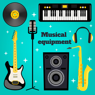 Music equipment set of guitar vinyl disk keyboard sax microphone isolated vector illustration.のイラスト素材 [FYI03070001]